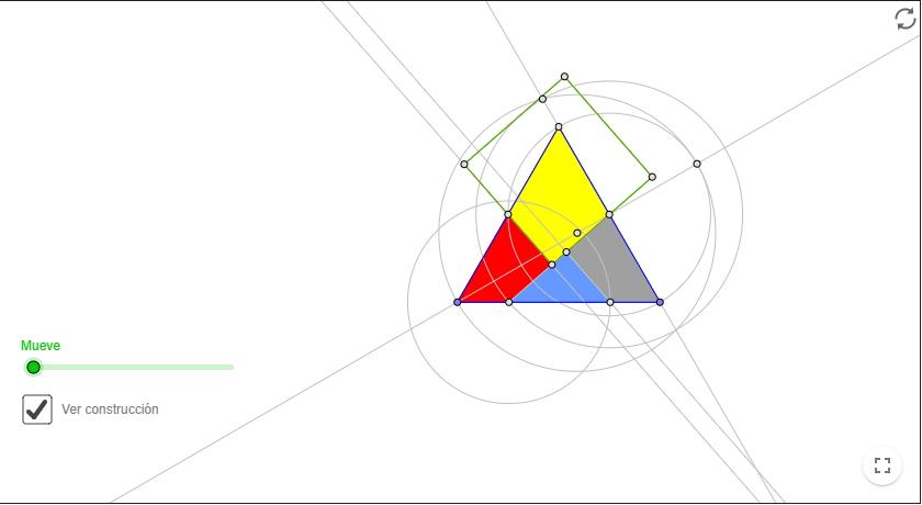 Cuadratura del triángulo equilátero. GeoGebra