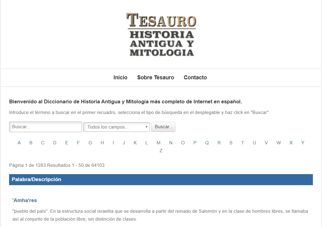 Diccionario Tesauro  de Historia Antigua y Mitología