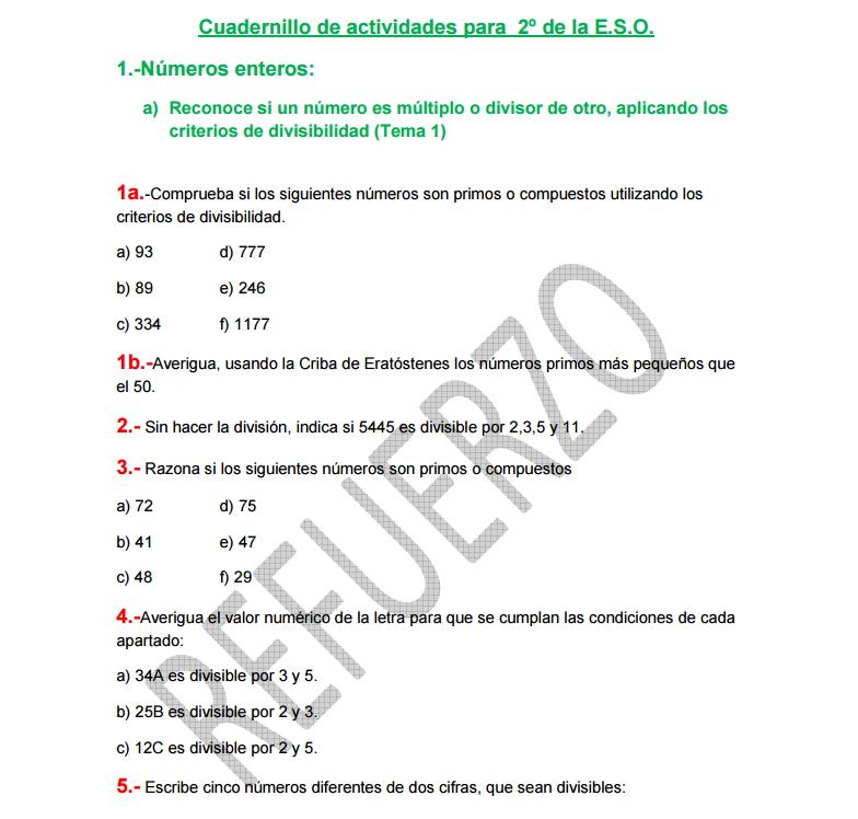 Ejercicios de refuerzo de Matemáticas de 2º de ESO (matesweb.es)