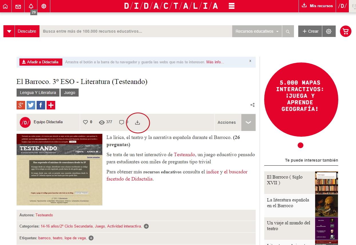 Cómo guardo el contenido publicado en Didactalia en Mi Espacio Personal