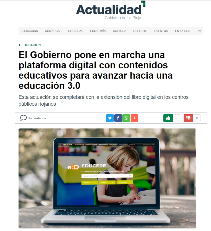 EDUCERE, el nuevo portal de recursos educativos de La Rioja. Press Clipping