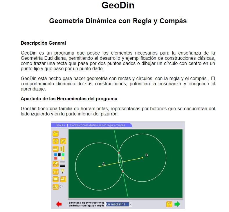 GEODIN: Geometría Dinámica con Regla y Compás (Proyecto Descartes)
