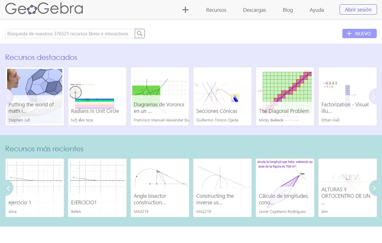 GeoGebraTube, recursos interactivos de Matemáticas