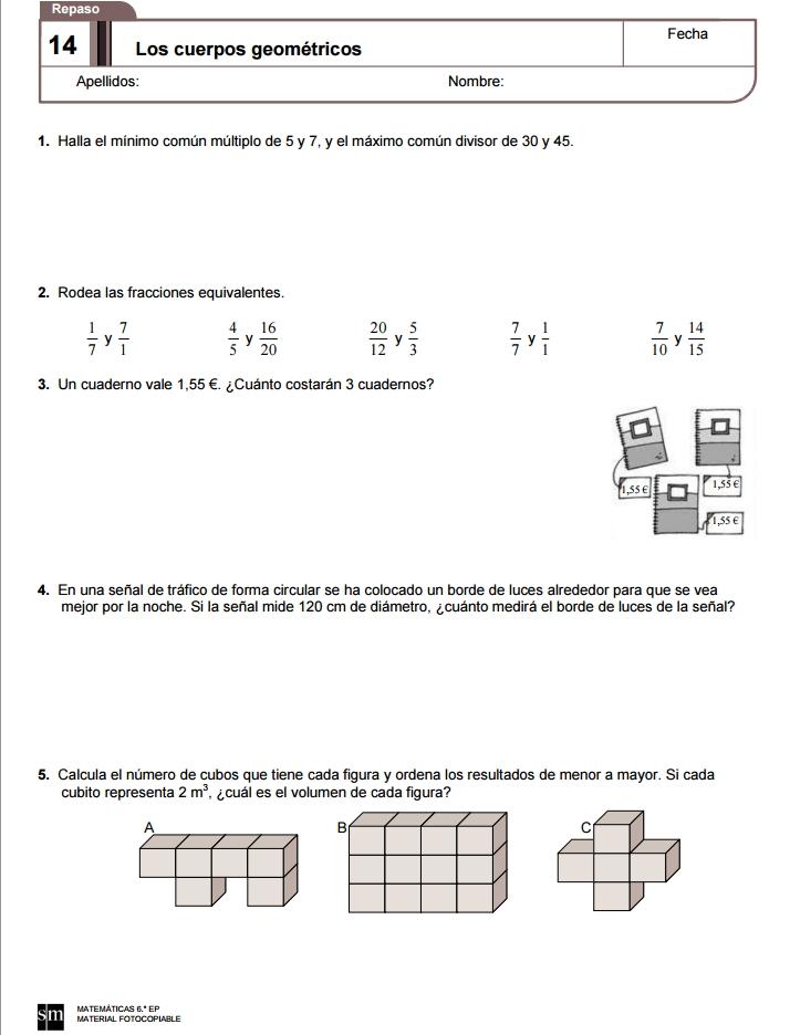 Ejercicios De Repaso De Matemáticas De 6º De Primaria Editorial Sm Didactalia Material Educativo