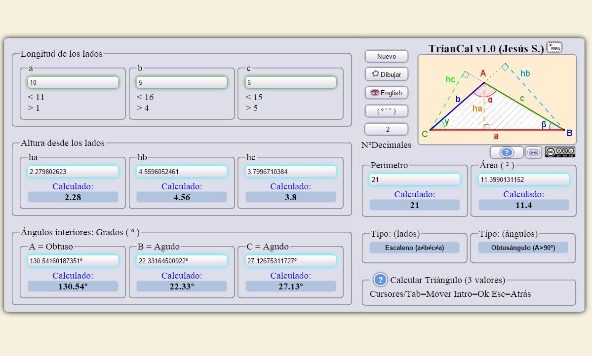 Calculadora de triángulos online