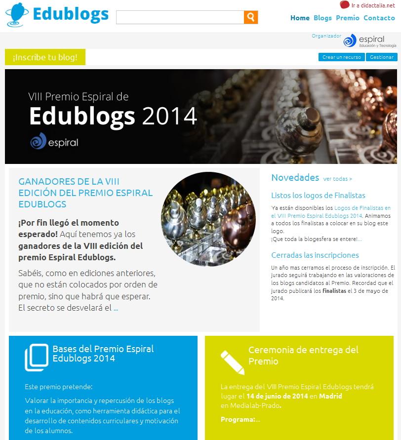 Espiral Edublogs la gestión del premio en la plataforma GNOSS