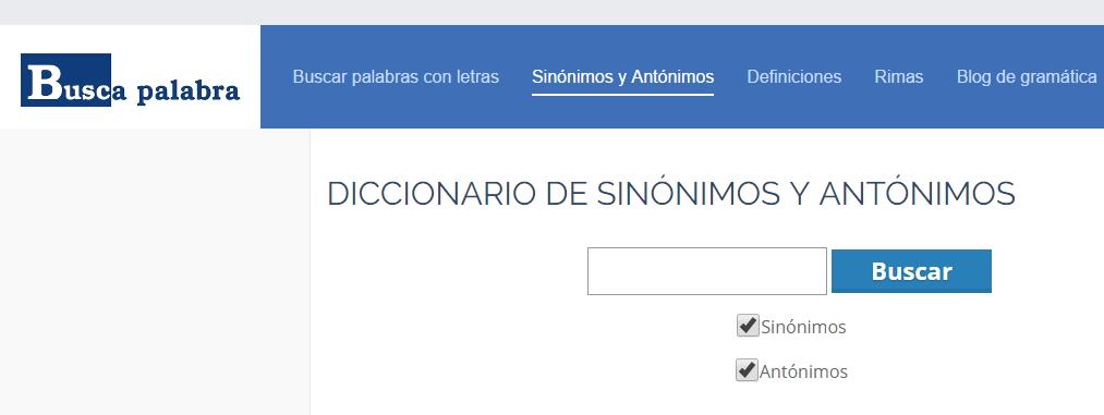 Diccionario de sinónimos y antónimos de Buscapalabra