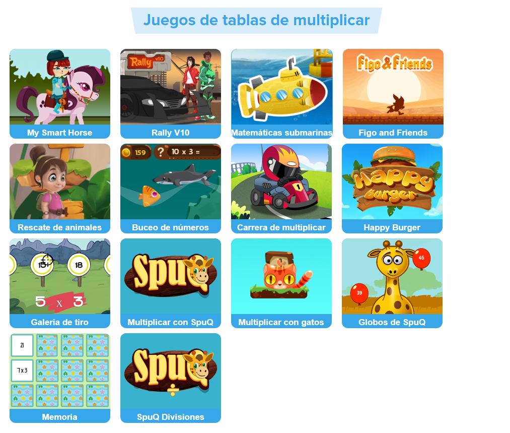 Juegos de tablas de multiplicar