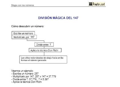 División mágica del 147: Magia con los números