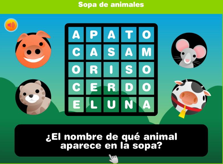 Juego de sopa de animales (Discovery Kids)