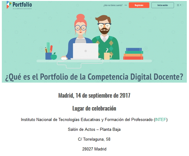 """Jornada """"El Portfolio de la Competencia Digital Docente"""": 14 de septiembre (INTEF)"""