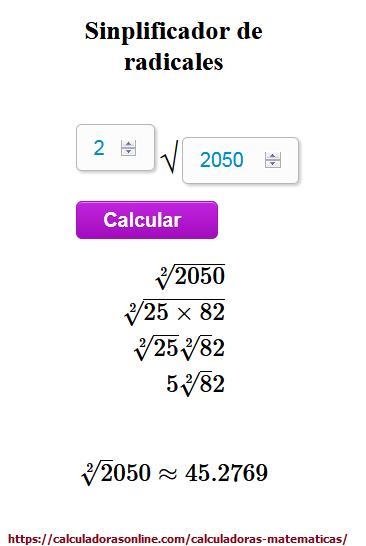 Calculadora de raíces - Simplificación de radicales online