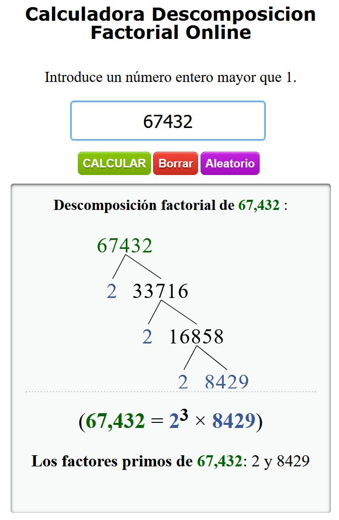 Calculadora de descomposición factorial
