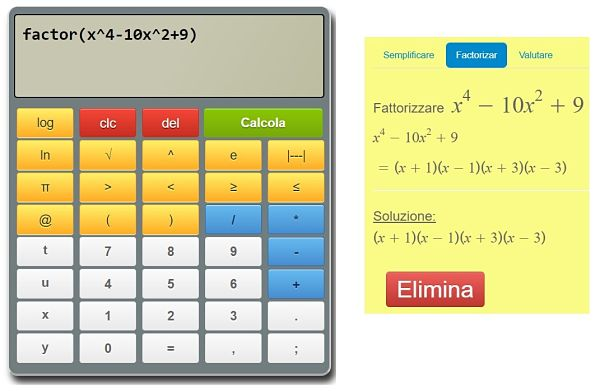 Risolvi espressioni algebriche online