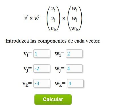 Calculadora de Producto Vectorial o Producto Cruz de vectores paso a paso