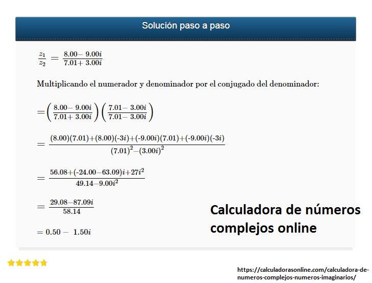 Calculadora de números complejos online