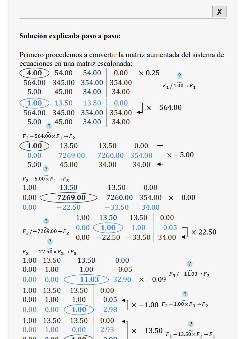 Método de Gauss Jordan Online
