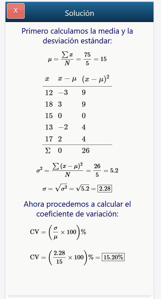 Calculadora de Coeficiente de Variación online