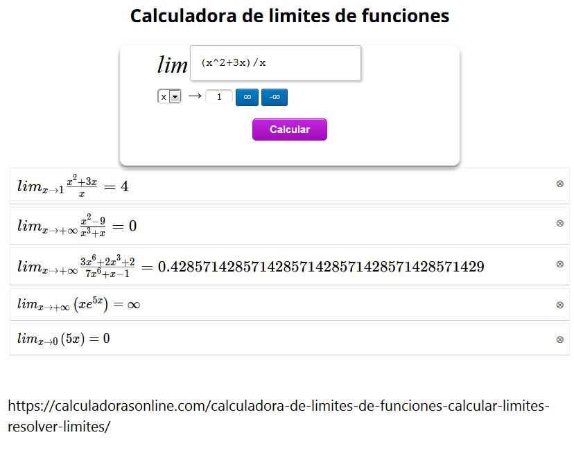 Calcular Límites de Funciones Online