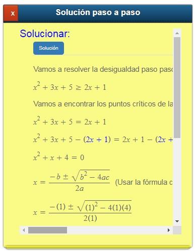 Calculadora de desigualdades o inecuaciones