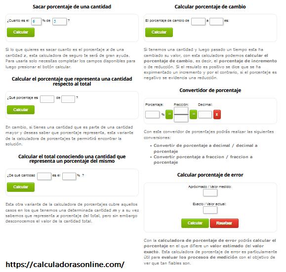 Colección de calculadoras de porcentajes online