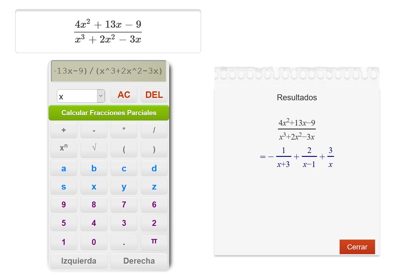 Calculadora de Fracciones Parciales (Fracciones Simples)