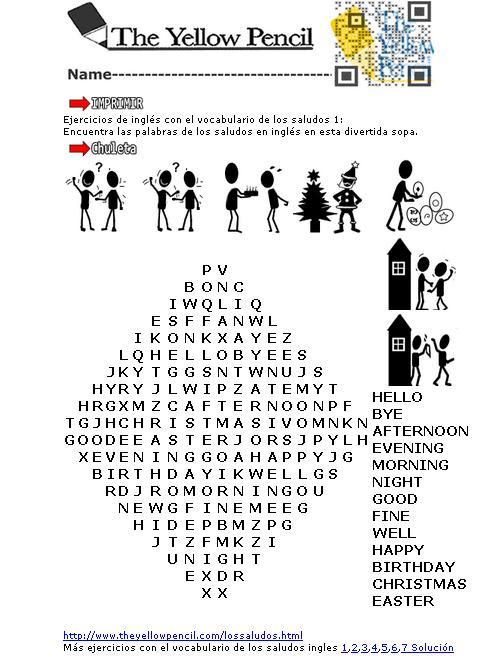 Ejercicios de inglés con el vocabulario de los saludos ...