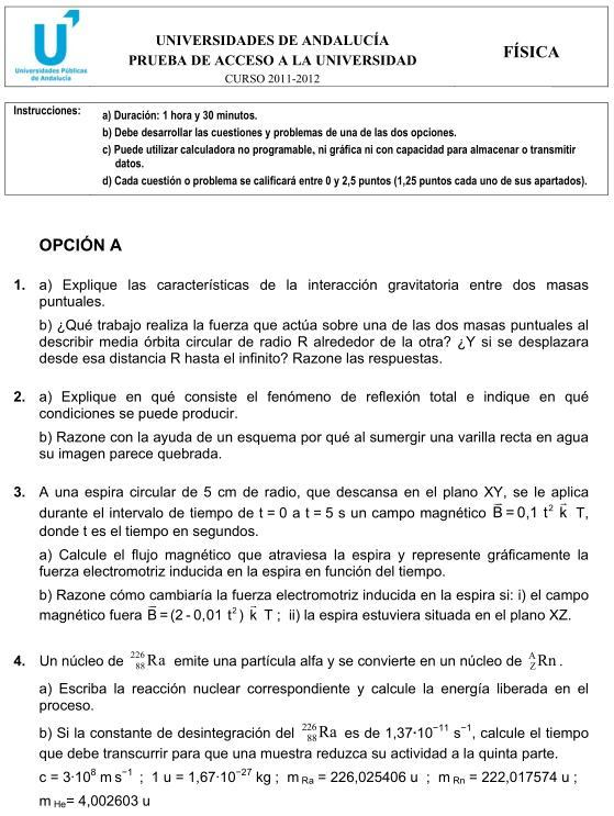 Física 1 Andalucía