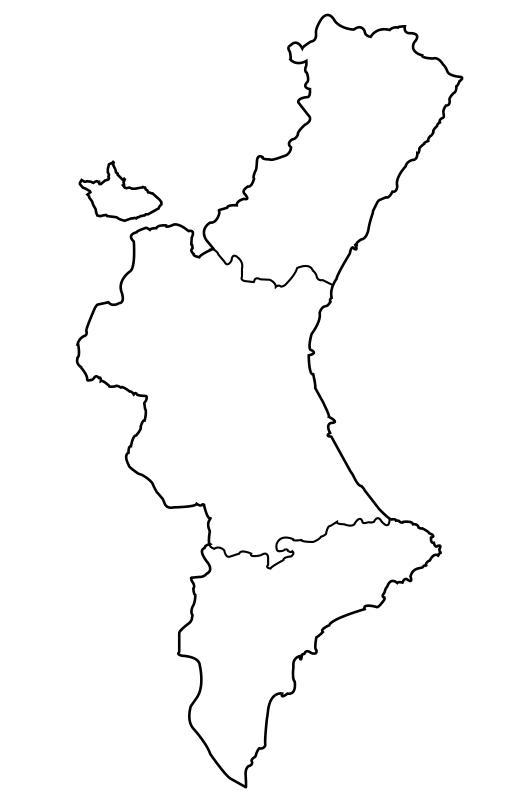 mapa político mudo Comunidad Valenciana