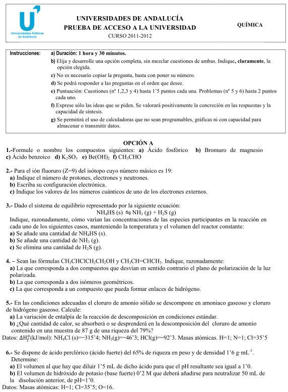 Química A Andalucía