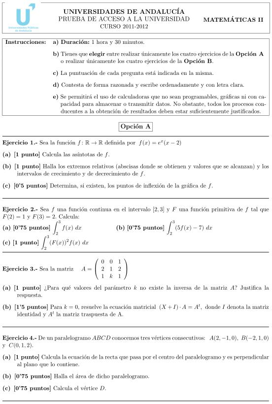 Matemáticas II 4. Andalucía