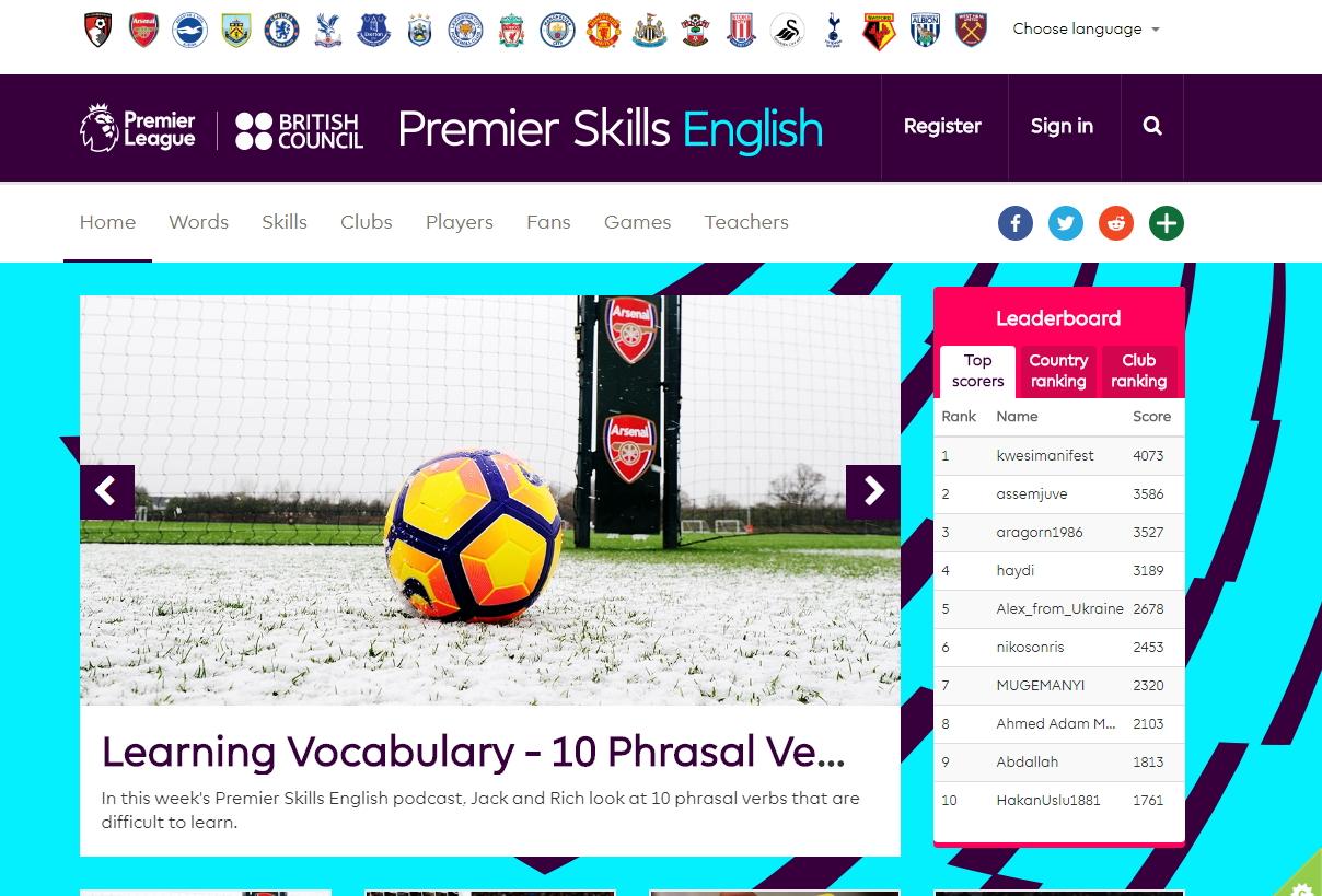 Aprender inglés con el fútbol. Premier Skills English (British Council)