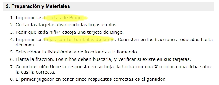 Bingo de fracciones (neoparaiso.com) - Didactalia: material educativo