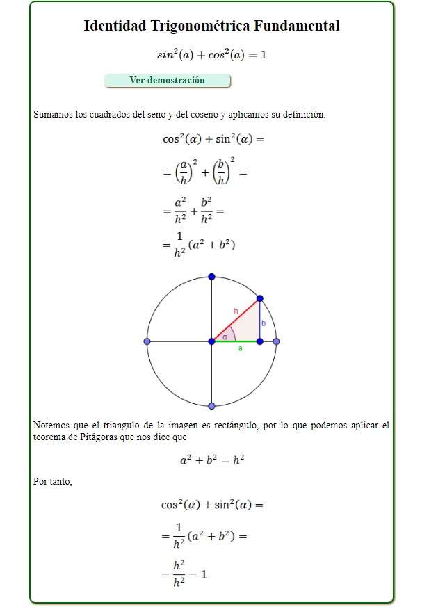 Identidad trigonométrica fundamental (Demostración) (Tareas Plus)