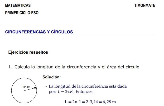 Ejercicios resueltos de circunferencias y círculos