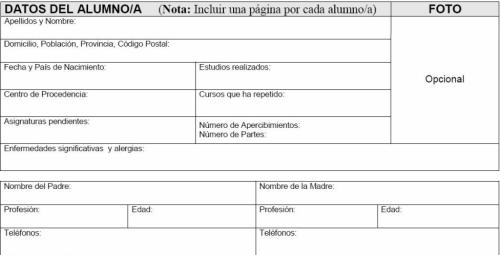 Ficha de datos de alumno