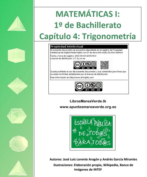 Trigonometría de 1º de Bachillerato. Apuntes de Marea Verde