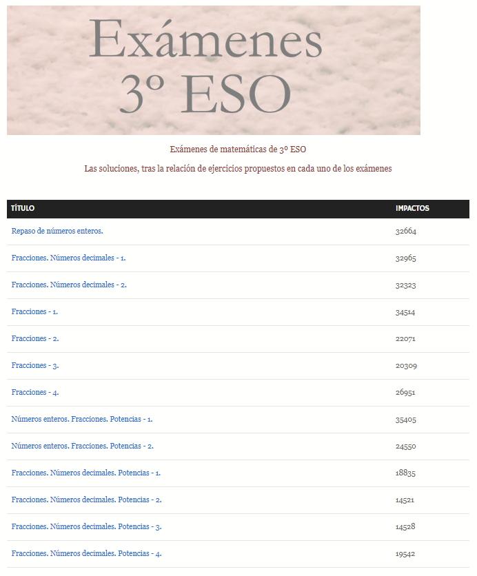 Exámenes de 3º ESO con soluciones: números enteros, fracciones, potencias, radicales, progresiones y ecuaciones.