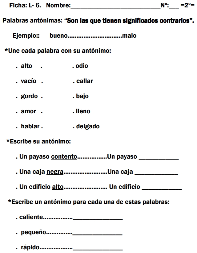 Ejercicios de refuerzo de Lengua española (Rincón del ...