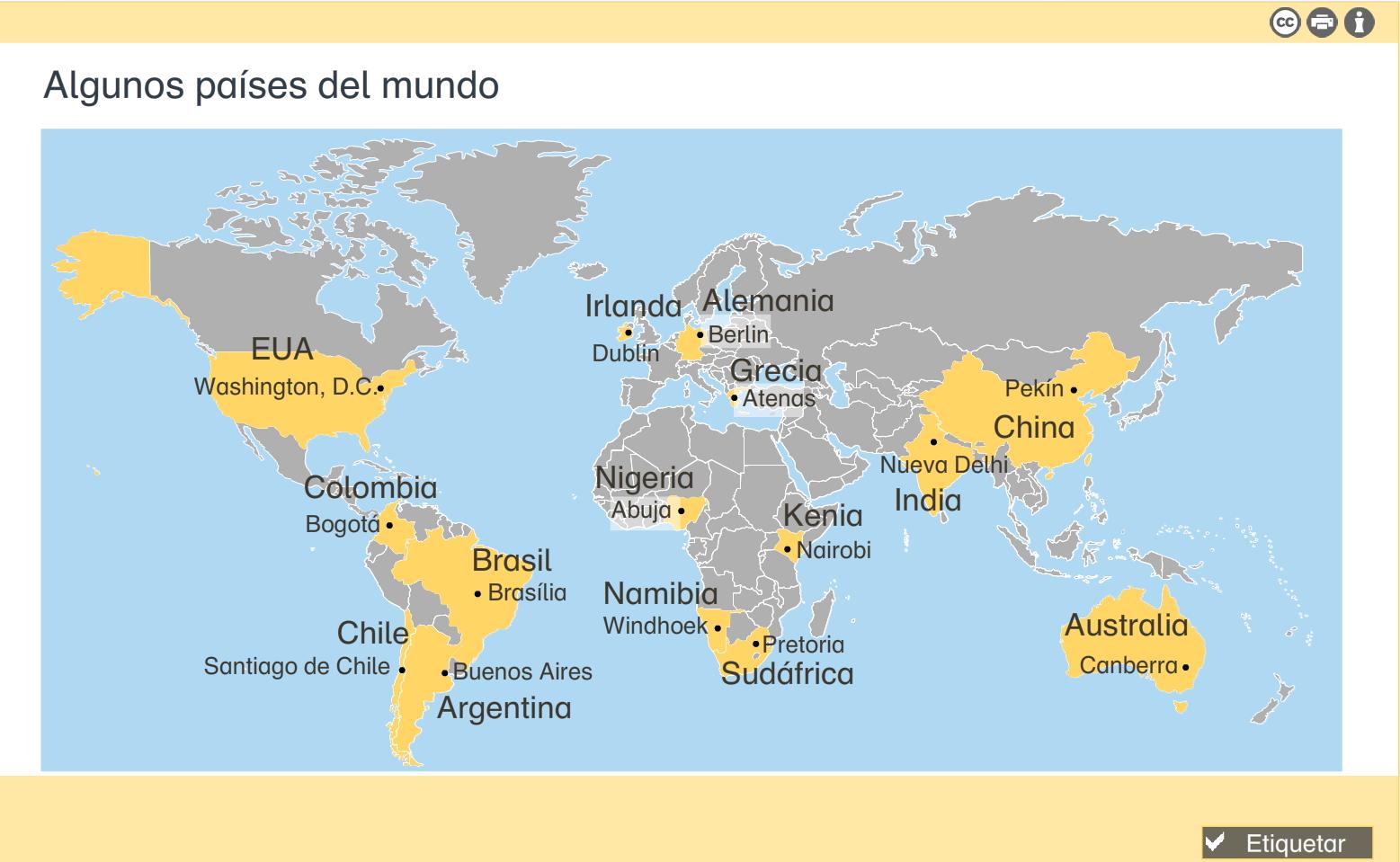 Algunos países del mundo. Gráfico interactivo