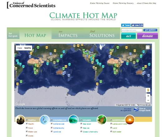 Climate Hot Map. Calentamiento global en todo el mundo