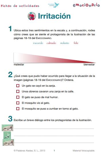 Ficha de actividades sobre la irritación. Emocionario