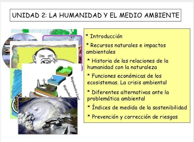 La humanidad y el medio ambiente 4º ESO