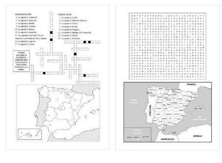 Geografía política española:  crucigrama y sopa de letras (Actiludis)