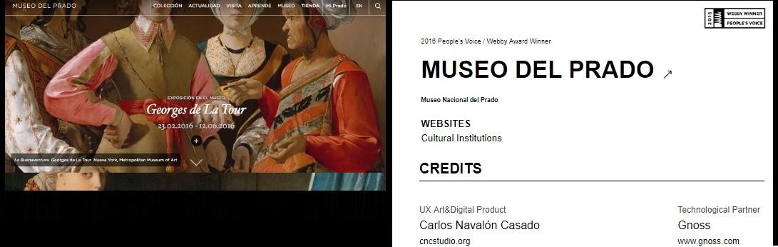 Premios WEBBYS al mejor proyecto digital en la categoría Cultural Institutions   al Museo del Prado