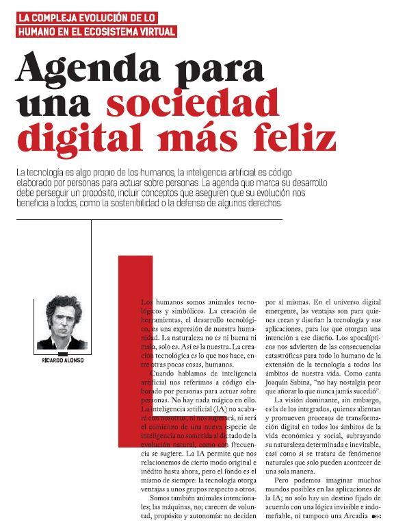 Articulo 'Agenda para una sociedad digital feliz' de Ricardo Alonso Maturana para Revista Telos