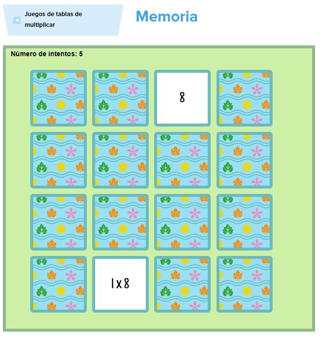 Juego Tablas de multiplicar de memoria ( Tablasdemultiplicar.com)