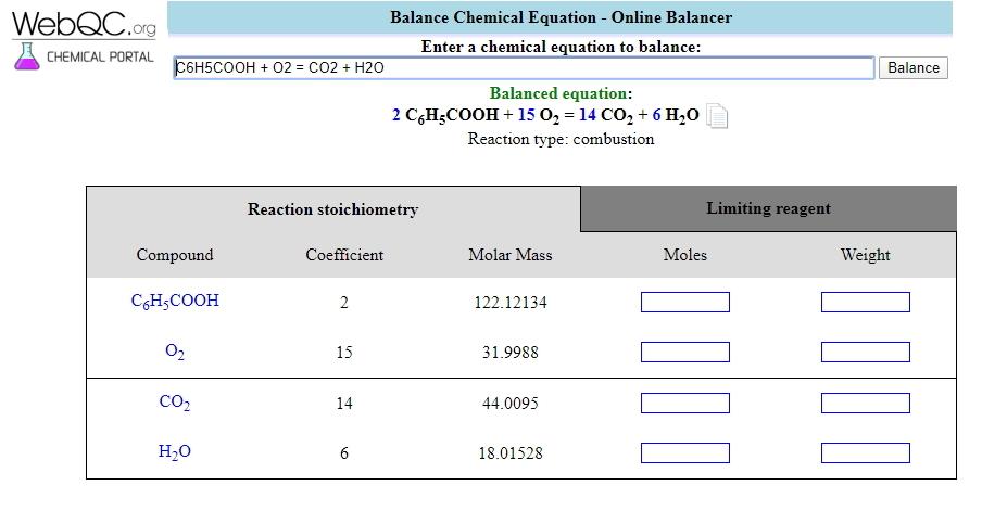 Balanceador de ecuaciones químicas