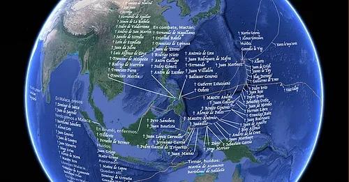 Ruta Elcano. Mapa de la primera vuelta al mundo.