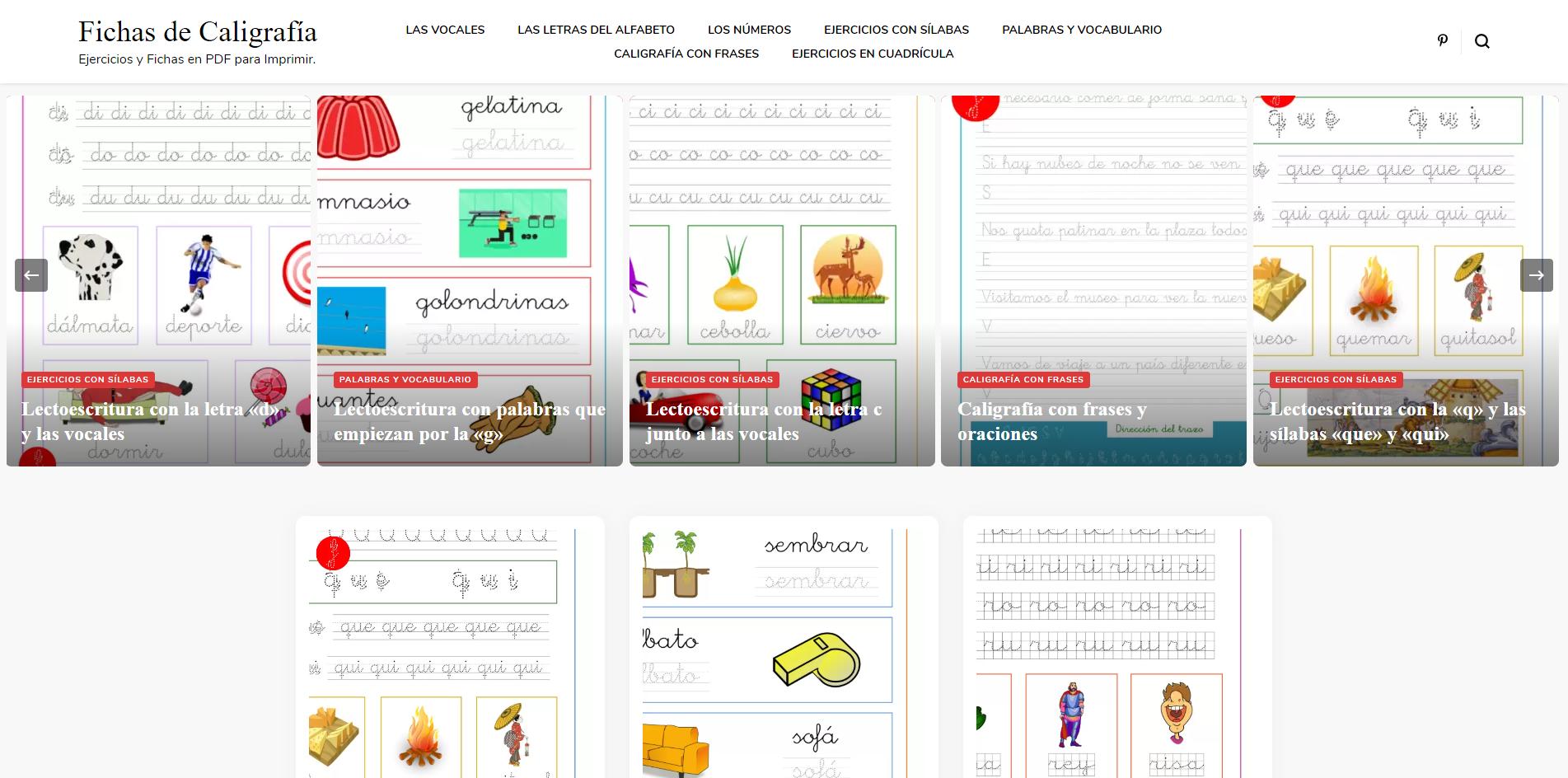 Fichas de caligrafía y lectoescritura